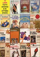 Stock lotto di 15 libri differenti romanzi in ottimo stato