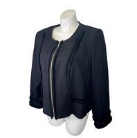 NWT KARL LAGERFELD PARIS Black Tweed Jacket Blazer Plus 22W Fray Zip Up New