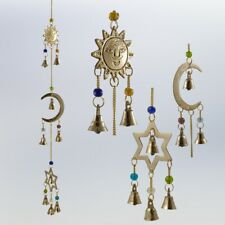 Celestial Wind Chime - Sun Moon Star - Brass Wind Chime w/ Bells & Beads