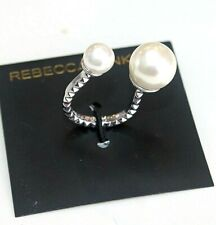 Rebecca Minkoff Ring Rhodium Plated Adjustable  Pearls cocktail women's