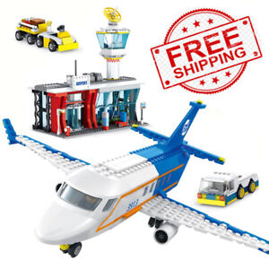 864pcs city passenger plane with airport set blocks toys airplane plane Toy kids