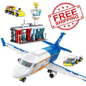 864pcs city passenger plane with airport set blocks toys airplane plane Toy kids