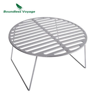 Titanium Charcoal BBQ Grill Net with Folding Leg Camping Beach Picnic Meat Food