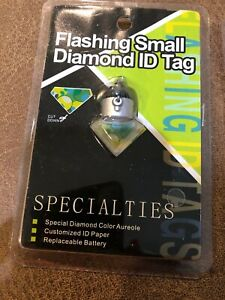 Dog/Cat Flashing Small Diamond ID Tag for pets LED Safety Light Set Of 3