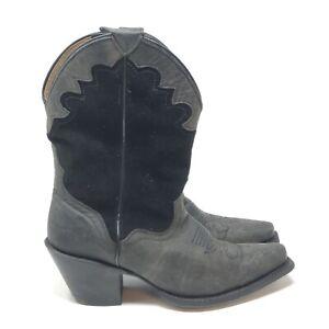 J.B. Dillon Women's Black Goat Skin Leather Western Short Cowboy Boots Size 6