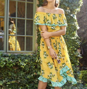 Matilda jane  Floral Hooked on a Feeling Off-Shoulder Dress Yellow S Small S15