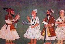 Sij Guru Gobind Singh con Bird & Guru nank Dev 18thc 7x5 pulgadas nueva impresión de la India