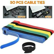 50 x Reusable Nylon Strap Hook and Loop Cable Black Cord Ties Tidy Organizer