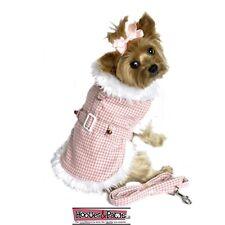 Doggie Design Coat Pink HoundsTooth White Fur HARNESS w/ Leash XS S M L XL XXL
