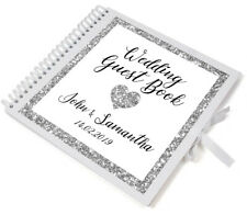 Large Personalised Silver Glitter Wedding Guest Book