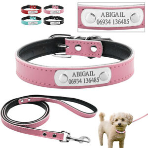 Personalised Dog Collar&Leads Customized Pet Name ID Soft Leather Padded for Pet