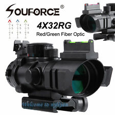 Illuminated 4x32 R/G/B Arrow Recticle Optic Sniper Rifle Scope&Fiber For Hunting