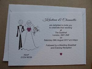 50 x Personalised Wedding Invitations 'Bride & Groom Feature' Day and/or Eve Mix