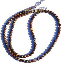 "Natural Gem Australian Boulder Fire Opal 4MM Size Round Beads Necklace 17"" 51Ct."