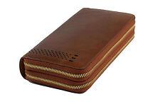 Rote Dämmerung * Braune Geldbörse [extra groß] Echtleder Vintage Beutel Clutch