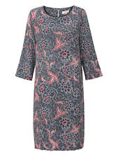 East for John Lewis Pure Silk Bali Print Dress Colour Indigo Size UK 14