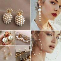 Heart Pearl Tassel Earrings Stud Dangle Charms Women Wedding Party Fashion Gift
