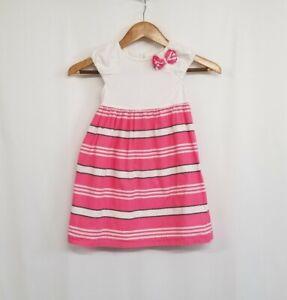 Gymboree White Top Pink/White/Navy Striped Skirt Short Sleeve Dress Size 5T