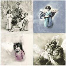 4x Tovaglioli di carta per Decoupage Decopatch Craft Mix VINTAGE Angels