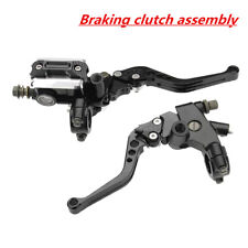 7/8'' CNC Motorcycle Brake Clutch Master Cylinder Lever Reservoir Black Set
