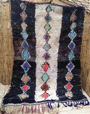 Ink-black  Moroccan boucherouite rag rug  210 x 155cm