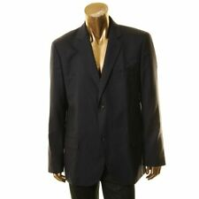 TOMMY HILFIGER NEW Mens Navy Solid Wool Two Button Blazer...
