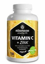 VITAMINE C 1000mg + Zinc 6 mois Antioxydant Anti-Fatigue Bio Flavonoides Vegan