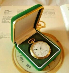 Pocket Watch Display Box Antique Style Green Velvet & Gold With Recessed Base