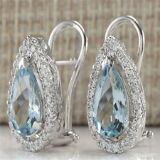 925 Silver Aquamarine Gemstone Dangle Drop Earrings Women Charm Wedding Jewelry