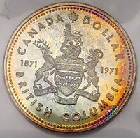 1971 Canada Silver Dollar RAINBOW TONED + UNCIRCULATED Nice Coin! #coinsofcanada