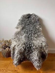 XL Large Genuine Gotland Sheepskin Rug Grey/Silver/Charcoal/Ivory Curly Real Fur