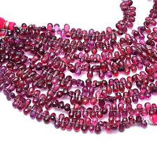 "AAA+ Rhodolite Garnet Gemstone 6x4mm Faceted Teardrop Briolette Beads |5"" Strand"
