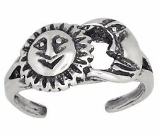 Sterling Silver .925 Sun and Moon Toe Ring Adjustable Size   Made In USA