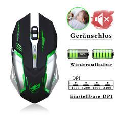 6 Tasten Geräuschlos USB Gaming Kabellos Maus Wiederaufladbar Funkmaus Mouse Neu