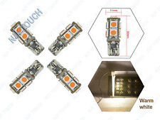 4X Warm White 9SMD 5050 T10 168 192 2825 CanBus LED Wedge Light Bulbs Error Free