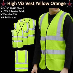 Hi Vis Vest Yellow Orange High Viz Visibility Waistcoat Safety Work Lot EN 20471