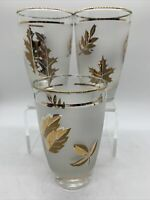 VTG MCM Set Of 3 Libbey Frosted Gold Foliage 8 oz. Drinking Glasses