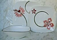 St 2 Corelle Vitrelle Pink Flower Square Dinner Plates, Salad/Sandwich Plate & B