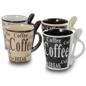 Gibson Bareggio 8 Piece 13 Ounce Coffee Mug with Spoon Set, Service for 4