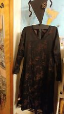 Womens Med.Tribe-a people united Nepal 100%cotton black lined dress bamboo print