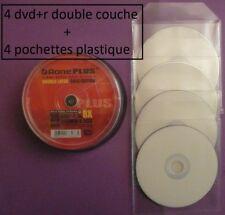 4 dvd+r double couche DL x8  AONE face blanche + 4 pochettes plastique