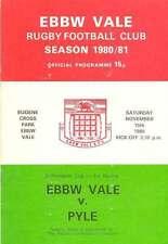 Ebbw vale V PYLE 15 NOV 1980 RUGBY programma