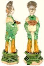 Antique 15th Ming China XL Multi-Color Sancai Statuette Female Attendant Platter