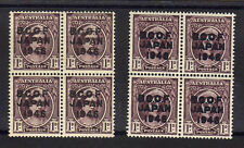B.C.O.F.1946-48 1d BROWN-PURPLE BLOCK OF FOUR WITH BLUE-BLK OPT. J2 & J2a MNH.