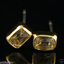 14k Gold Plated Crystals Men Women Unisex Stud Earrings