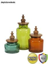 3 Pc Canister Set Colorful Glass Kitchen Storage Mango Wood Lids Coffee Tea  Food