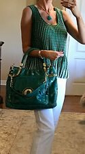 NWT Rampage Green Genuine Leather Sachel Bag Large $220 With Matching Necklace