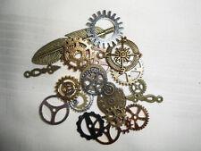 (16) Anhänger Steampunk 21 Teile, Uhr, Zeiger, Feder, Zahnräder, Windrose