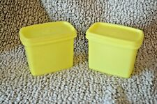 VTG TUPPERWARE LOT~2 Yellow Shelf Saver Containers w/Lids #1243 Stacking