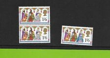 24# GB STAMP ERROR OMITTED NEW BLUE 1/ VERTICAL PAIR SG814  CHRISMAS 1969